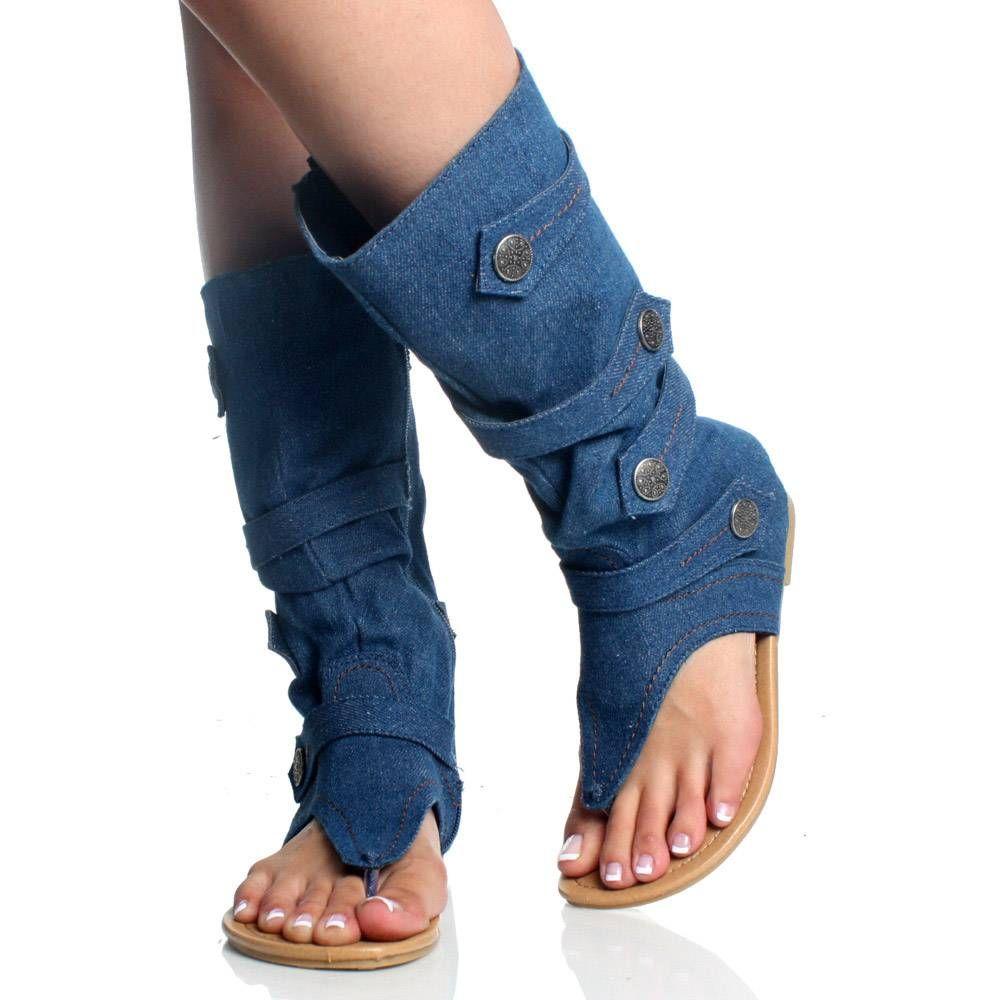 1b446e4588 denim boots for women | Blue Denim Jean Open Toe Mid Calf Boot Flat Dress Sandal  Womens Shoes .