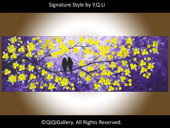 """Abstract painting Heavy Texture Impasto Palette Knife Tree Flower Love Birds """"Love and Romance"""" by QIQIGALLERY on Etsy, $185.00"""