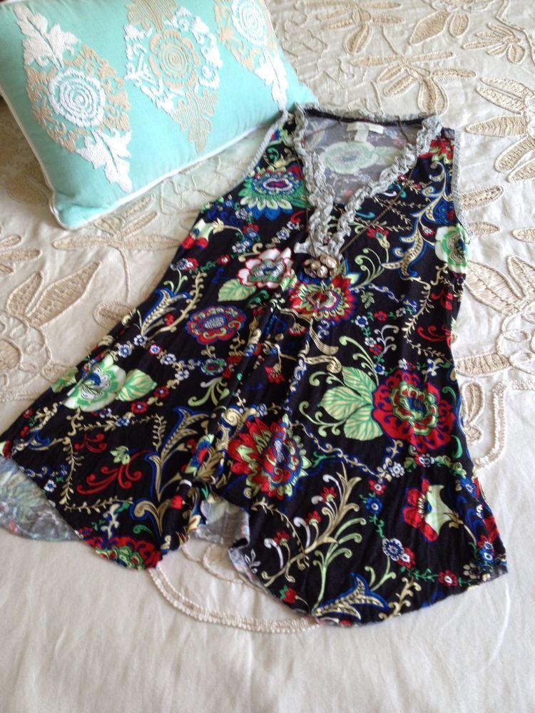 0b589ca458002 Weston Wear Anthropologie Small S Black Floral Ruffle Knit Tunic Tank Top