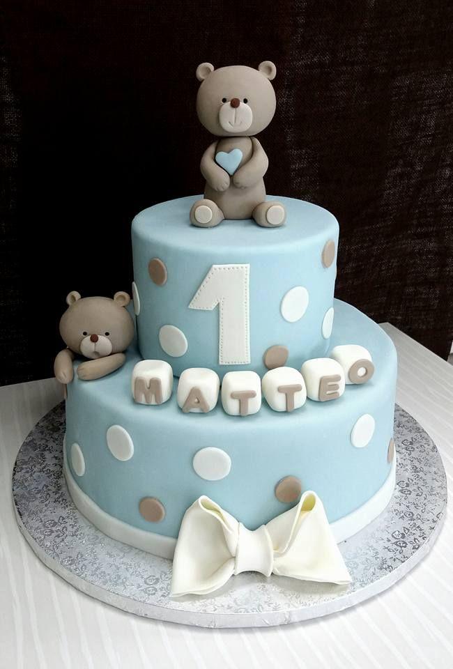 Teddy Bear Baptism Cake Geburtstagskuchen Kind Geburtstag Torte