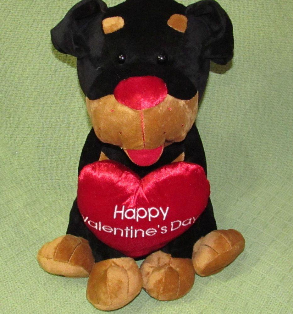 "16"" ROTTWEILER Valentine Plush Puppy Dog Stuffed Animal Black Tan Hearts Toy #Walmart"