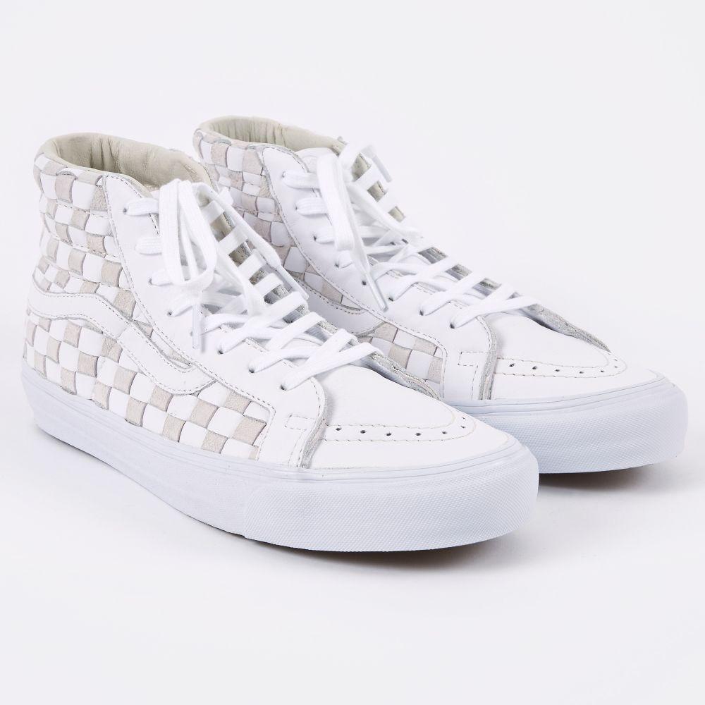 vans sk8 hi checkerboard white