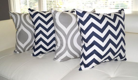 Valentine's SALE - Premier Prints Emily Storm Gray Ogee and Zig Zag Navy Blue Decorative Throw Pillows - 4 Pack Free Shipping