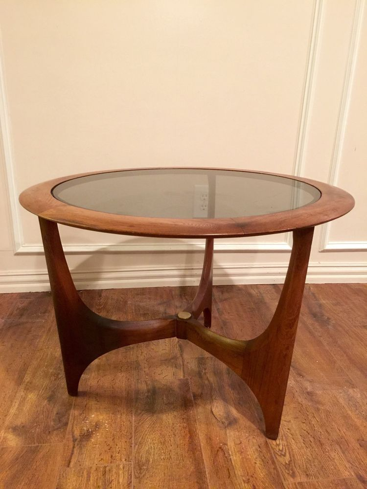 bfd89937f620 Adrian Pearsall Danish Mid Century Modern Lane Round End Table Smoked Glass   AdrianPearsall