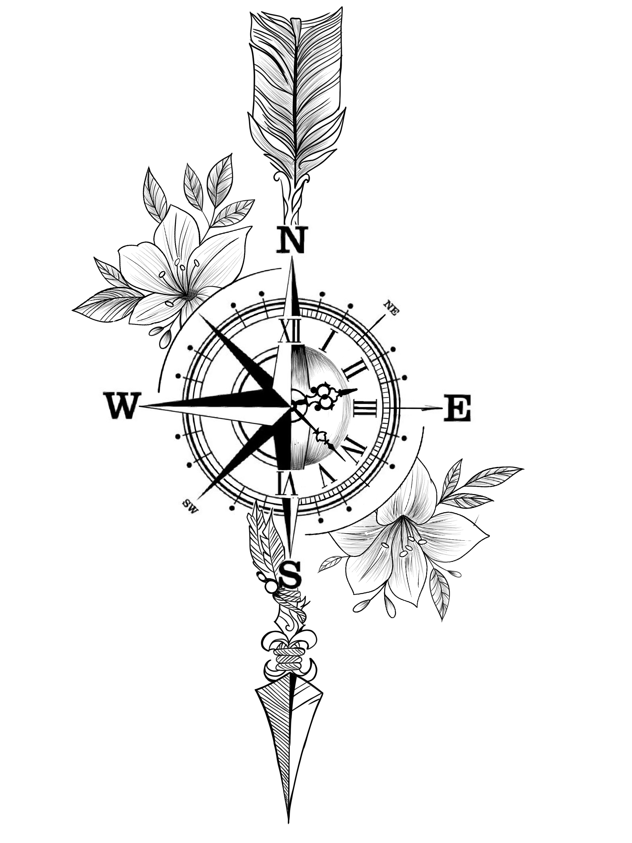 Flowers In Watercolours Compass Tattoos Arm Compass Tattoo Arrow Tattoos For Women