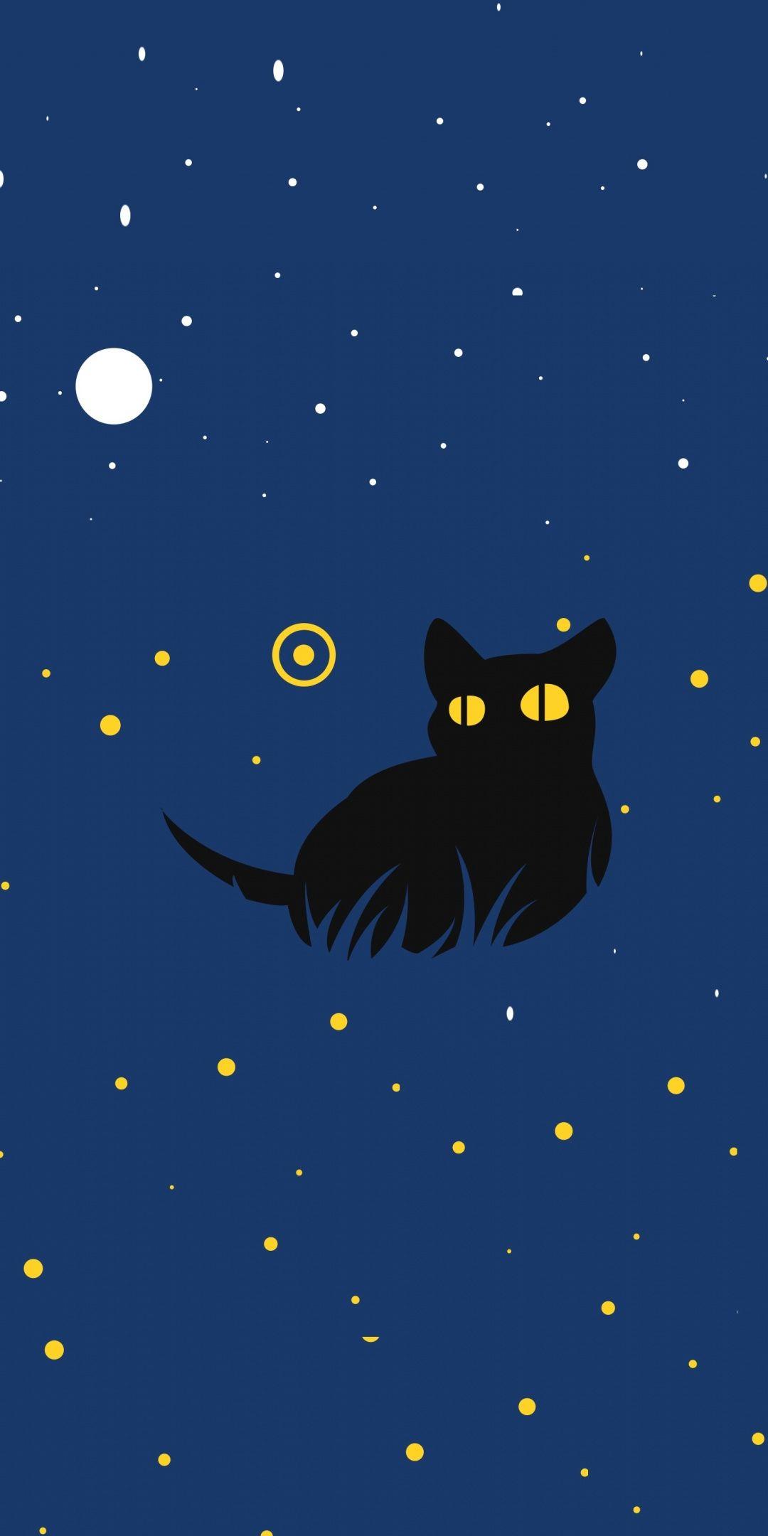 Cute Black Cat Minimal Art 1080x2160 Wallpaper Blue Anime Art Black Wallpaper Anime cat wallpaper android