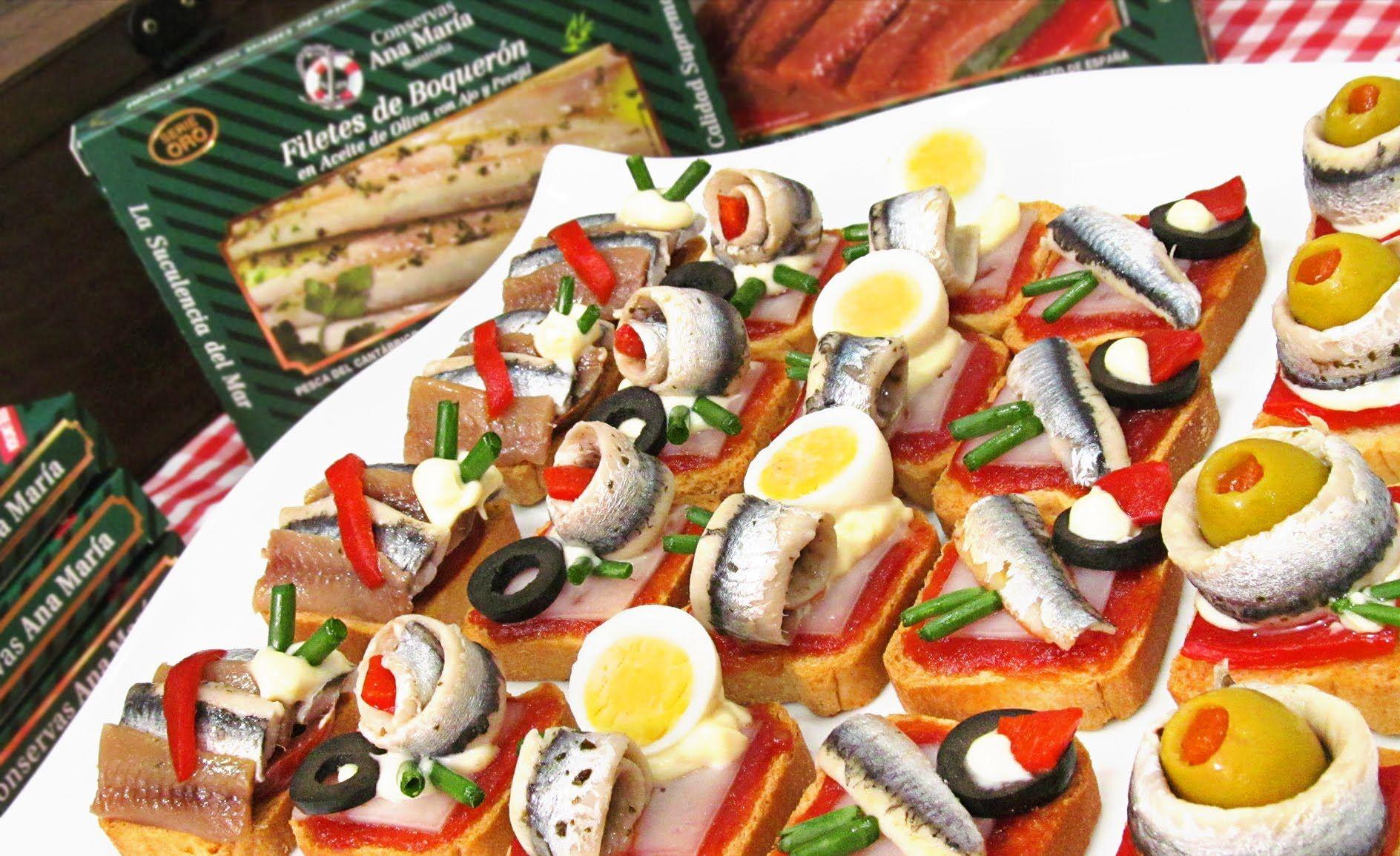 Canap s variados fr os originales f ciles y r pidos con boquerones recetas de cocina - Canapes frios faciles de hacer ...