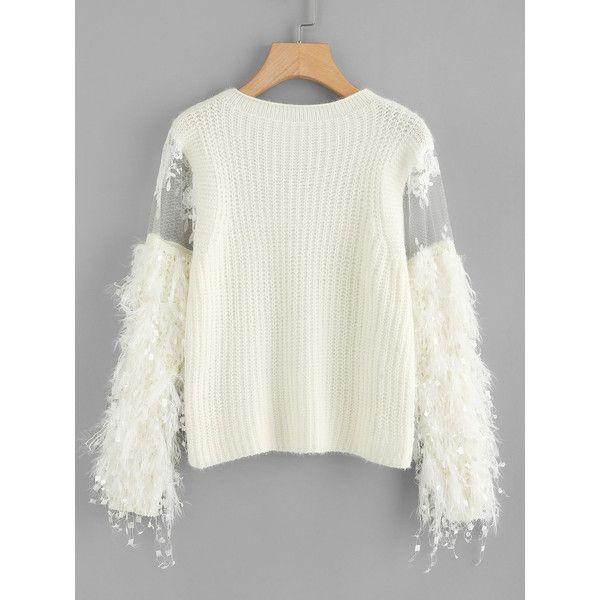 SheIn(sheinside) Lace Crochet Mesh Contrast Sweater (490 ARS ...