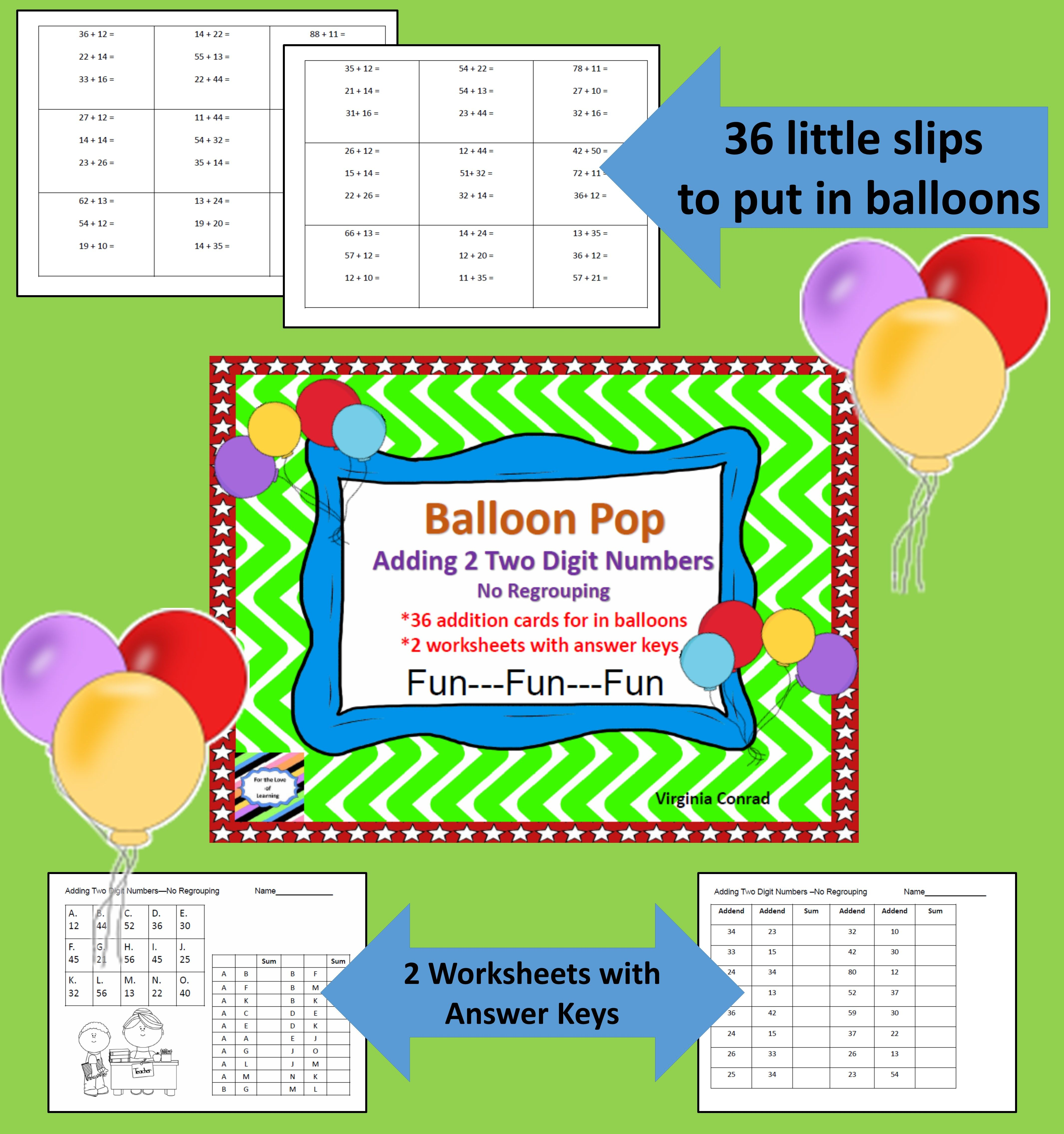 Adding 2 Two Digit Numbers Without Regrouping Balloon Pop