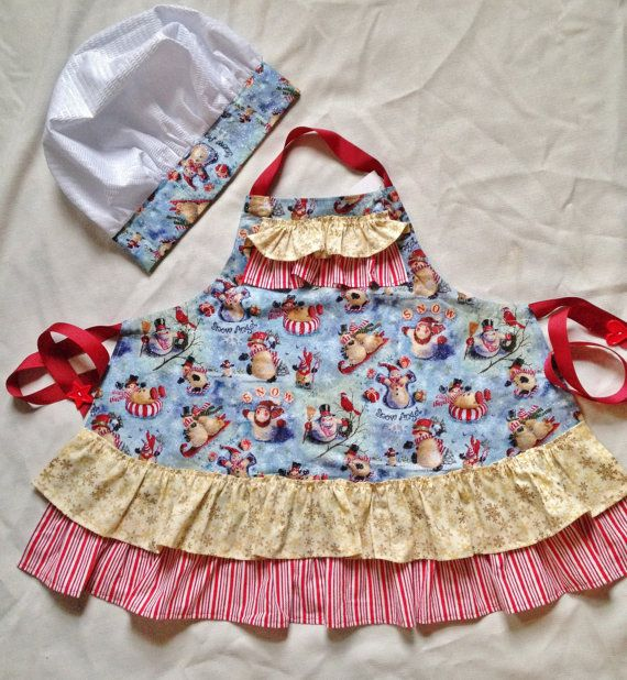 Hey, I found this really awesome Etsy listing at https://www.etsy.com/listing/215544452/girls-apron-with-chef-hat-girls-snowmen