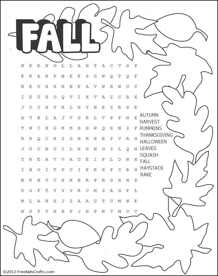 Printable Fall Word Search Puzzle Fall Words Sunday School