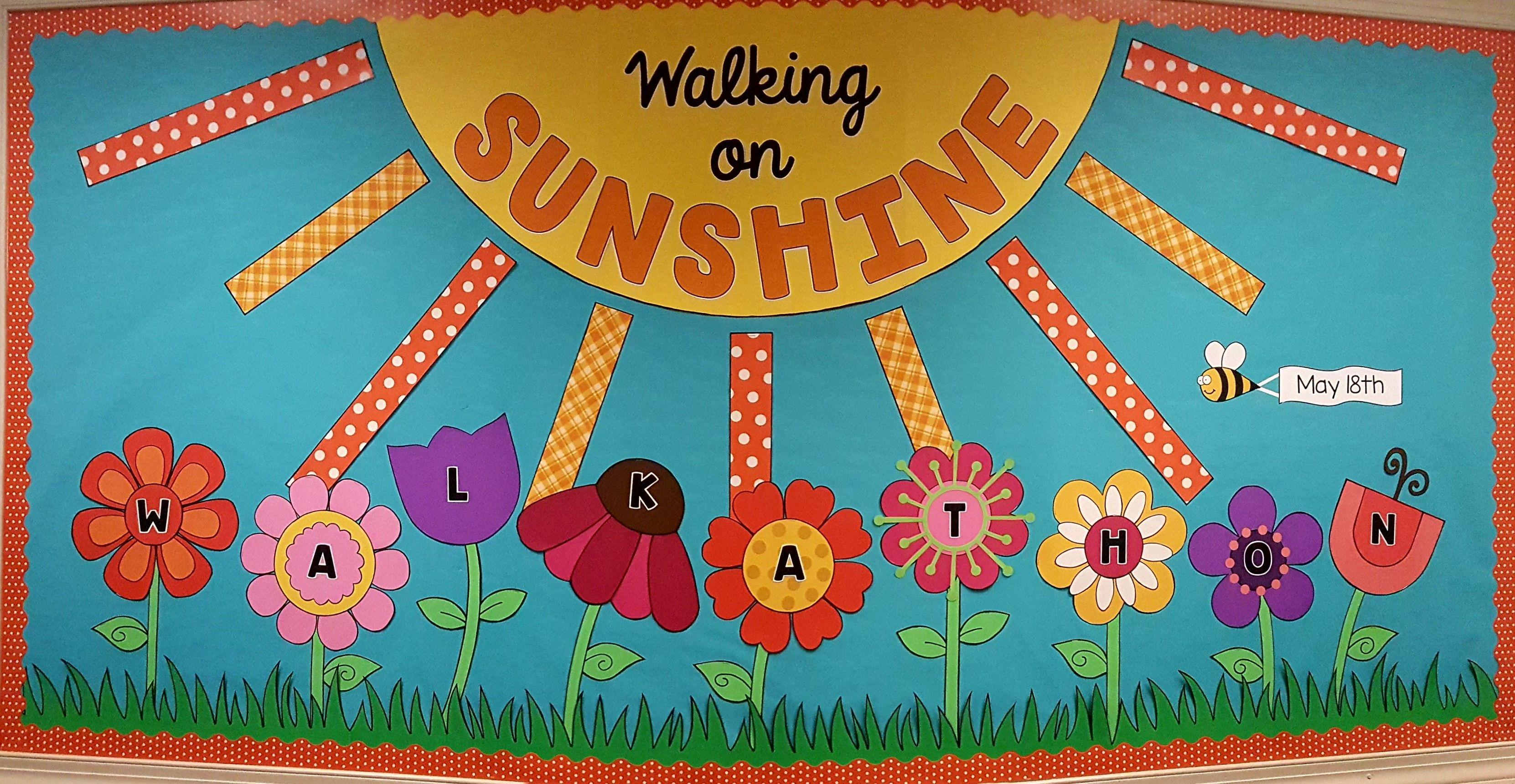 Walking On Sunshine Bulletin Board Preschool Bulletin Boards Summer Bulletin Boards Kids Bulletin Boards