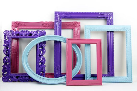 Painted Picture Frames - Hot Pink Purple Aqua - Set of 6 | Painted ...