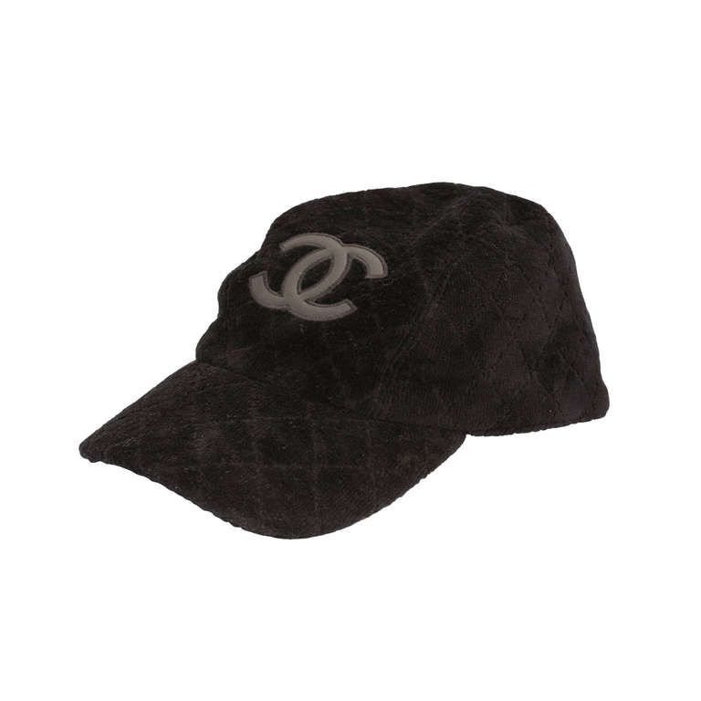 f101d8cd Chanel Velvet Cap Hat with Leather CC Logo | From a collection of rare  vintage hats