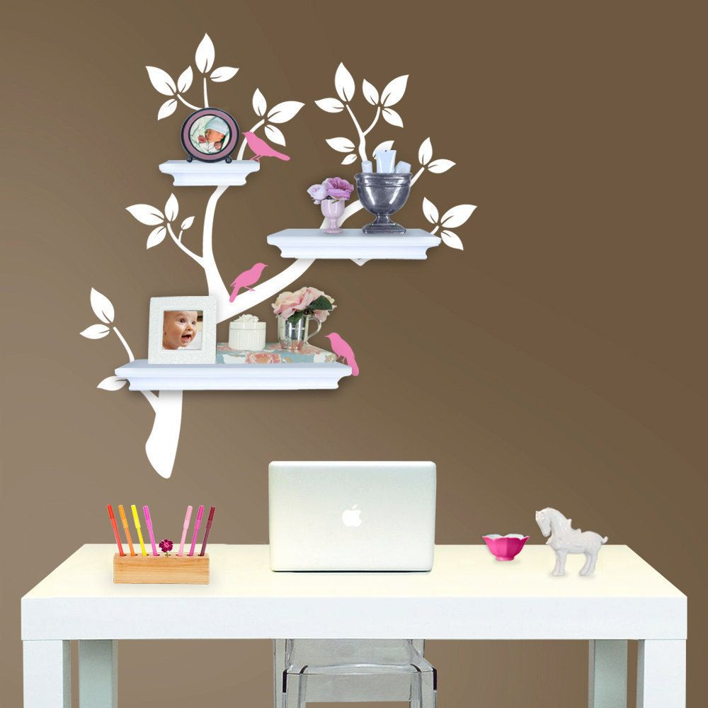 Tree Branch Decal With Birds For Shelves Gender Neutral - Nursery wall decals gender neutral