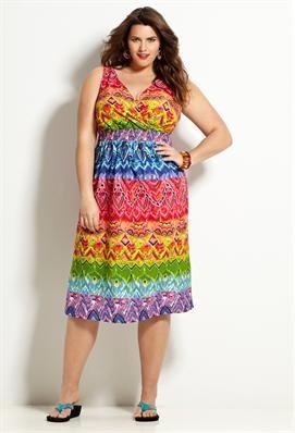 Rainbow Print Cotton Sun Dress | Plus Size New Arrivals | Avenue ...