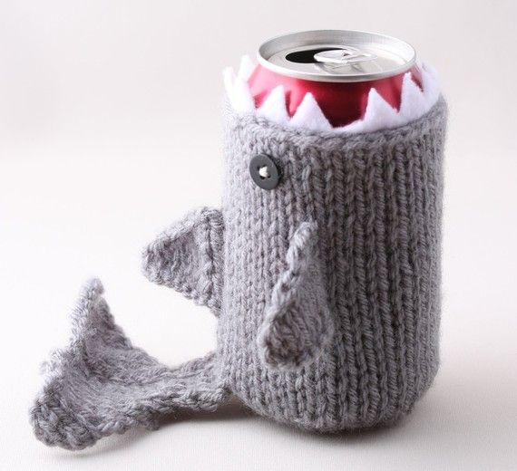 Monster Shark  for your Soda Can  Silver Grey  was by HandaMade, $18.00