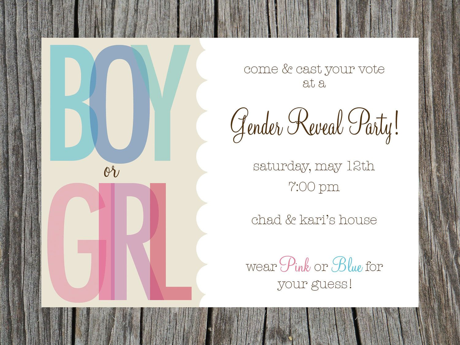 next time around .. Gender Reveal Party Invitation Printable. $11.50 ...
