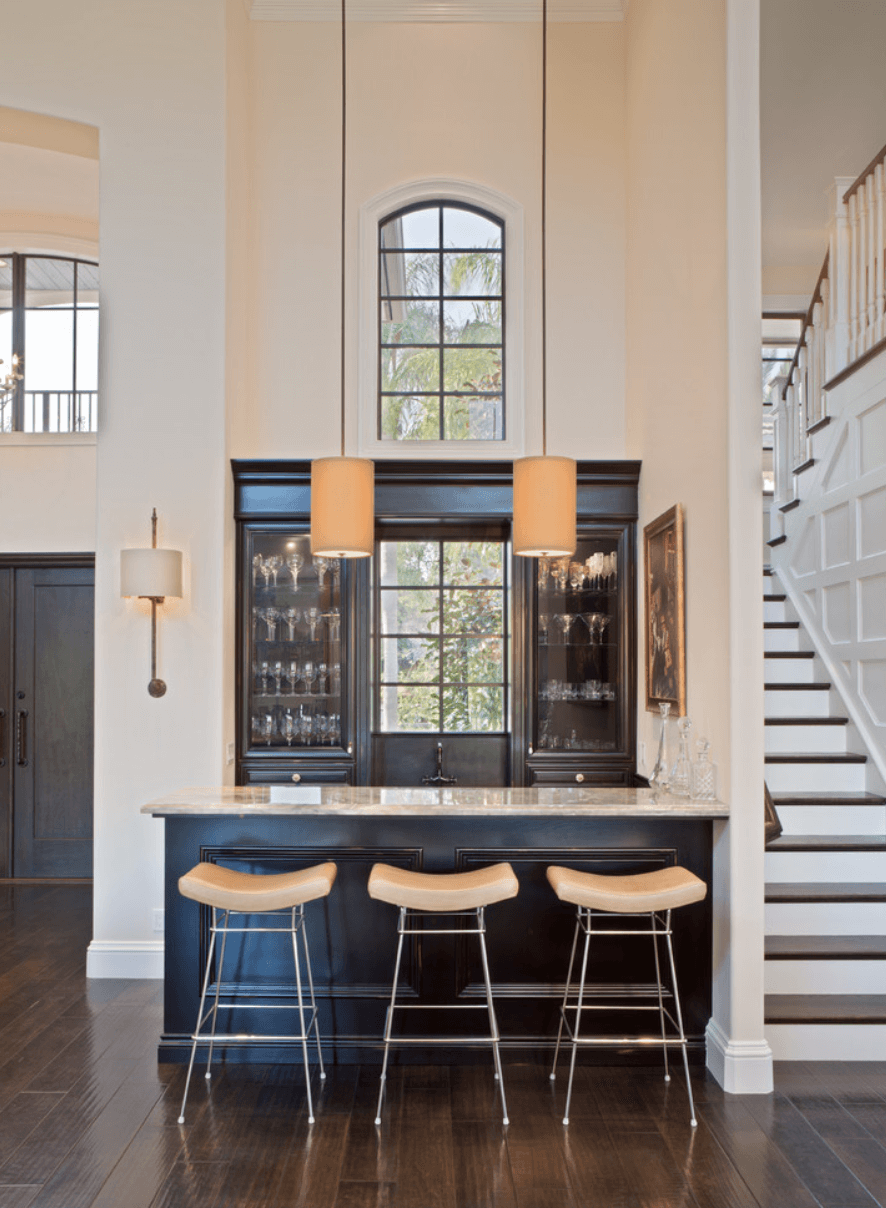Great Stylish Home Bar Design That Feels Traditional And Yet Contemporary At The  Same Time. The Moulding On The Bar Front Is Quite Classic, Whilst The Slim  Legged ...