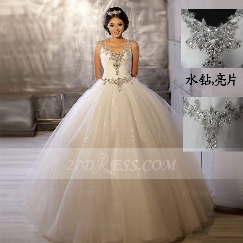 Cheap Floor-length Straps Elegant Ball Gown Wedding Dresses 2015 ...