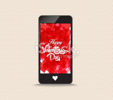 Happy valentines day with hearts red color phone - Illustration
