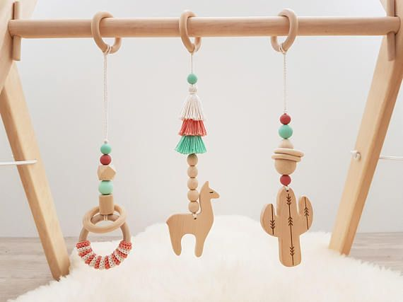 Wooden baby gym mobiles. Set of 3: cactus, llama, ring. Desert. Boho. Travel. Play Gym Accessory. Activity center toys. Baby Shower Gift