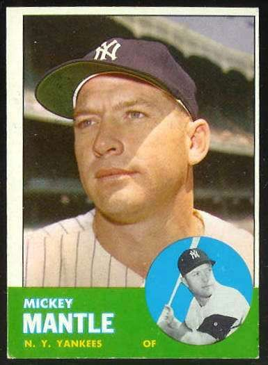 top 100 baseball cards of all time | 1963 Topps #200 MICKEY MANTLE