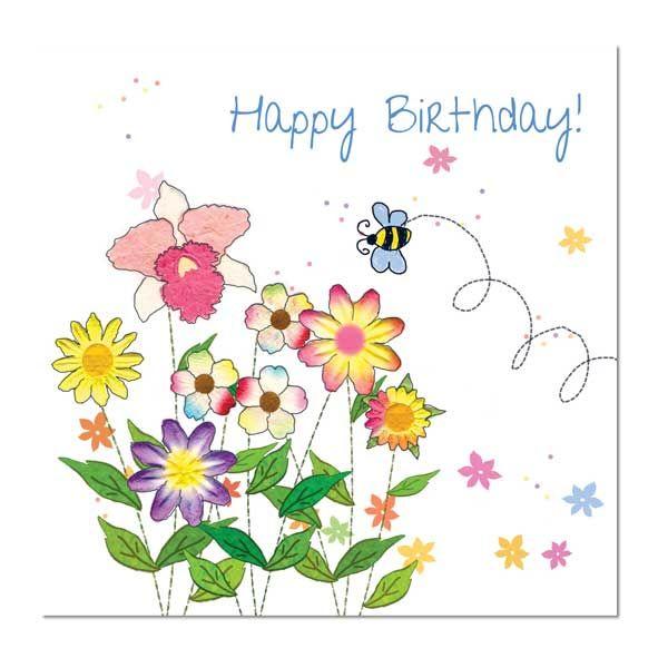 Happy Birthday Card Bee and Flowers MMHBPK11 Pinterest Happy