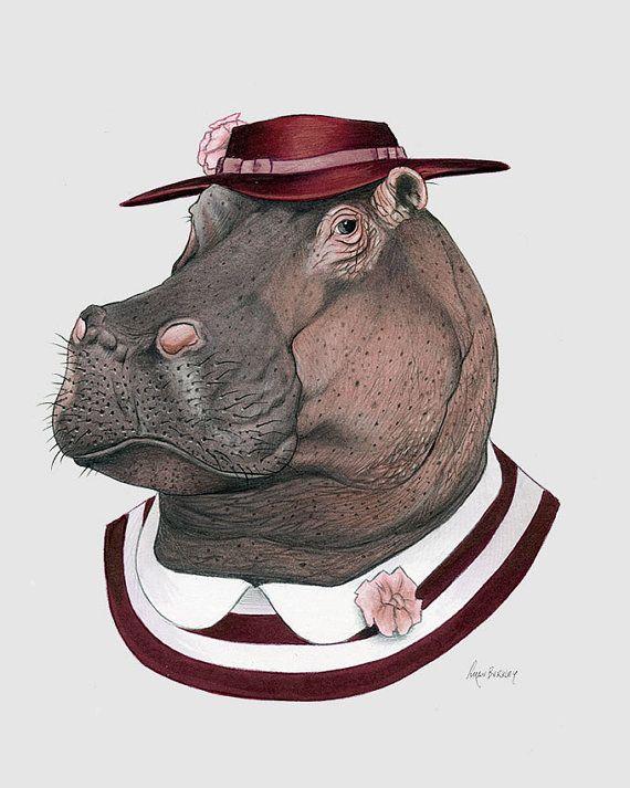 Art de Hippo Estampe - art animalier - art de la pépinière - pépinière décor - animaux en vêtements - artistique pour les enfants - Ryan Berkley Illustration 8 x 10