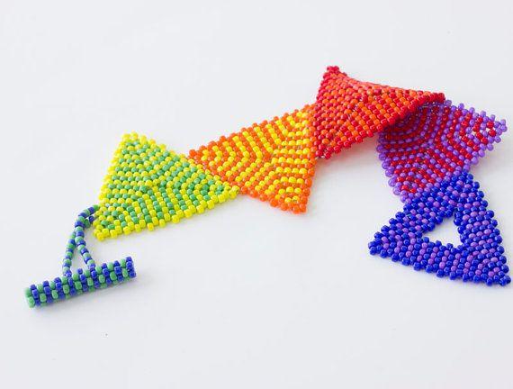 Rainbow Triangle Bracelet Hand Woven Beaded Peyote by beadedwire