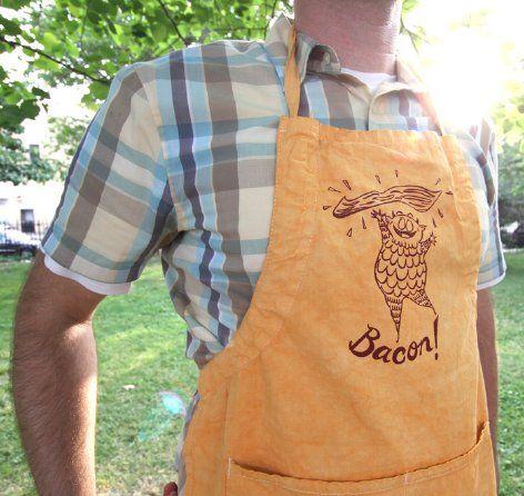 Bacon Monster silk-screened apron