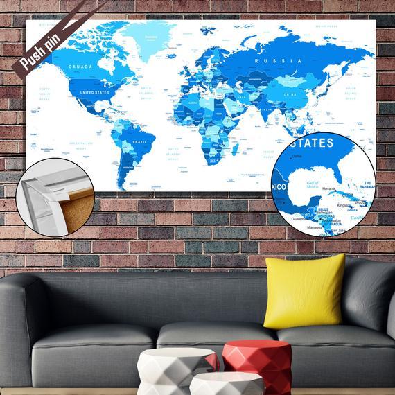 Push Pin Cork Map, World Travel Map, Custom Cork Pin Board