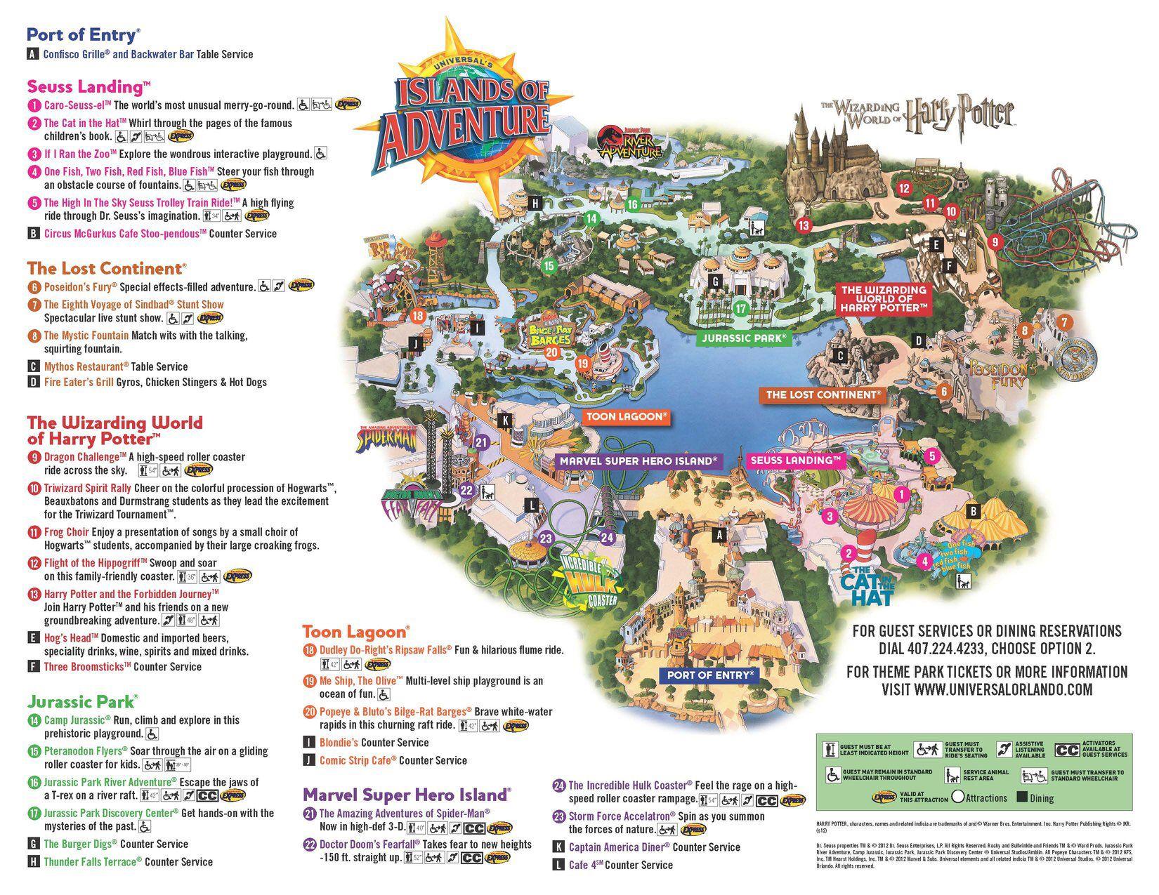 Universal Studios Islands Of Adventure Map Universal Island of Adventure   Florida   USA | Ticked off   Theme  Universal Studios Islands Of Adventure Map