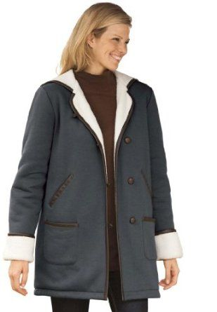 woman within plus size coat with hood in fleece with berber lining