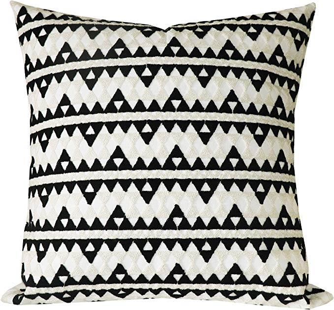 Amazon Com Slow Cow Cotton Decor Throw Pillow Cover Embroidery Chain Design Pattern In 2020 Decorative Throw Pillow Covers Blue Throw Pillow Cover Throw Pillow Covers