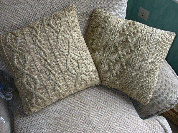 вязание подушки спицами поделки своими руками фото Knitting