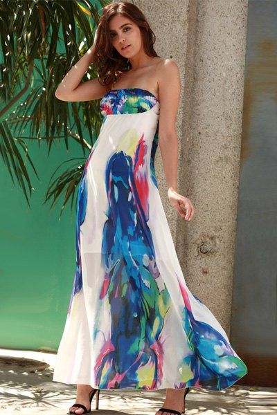 Bandeau Floral Print Maxi Beach Holiday Dress Clothes Dresses