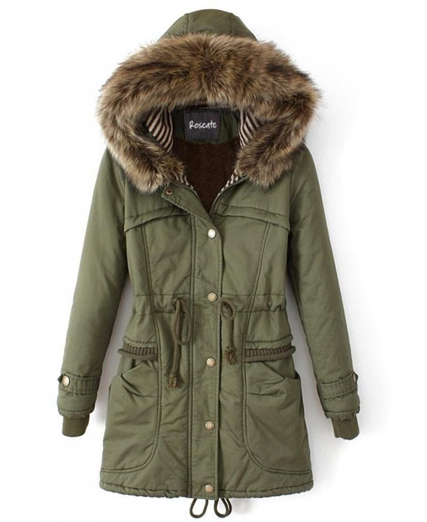 480cec095 Roseate Womens Long Down Coat Green Casual Parkas with Faux Fur Trim ...