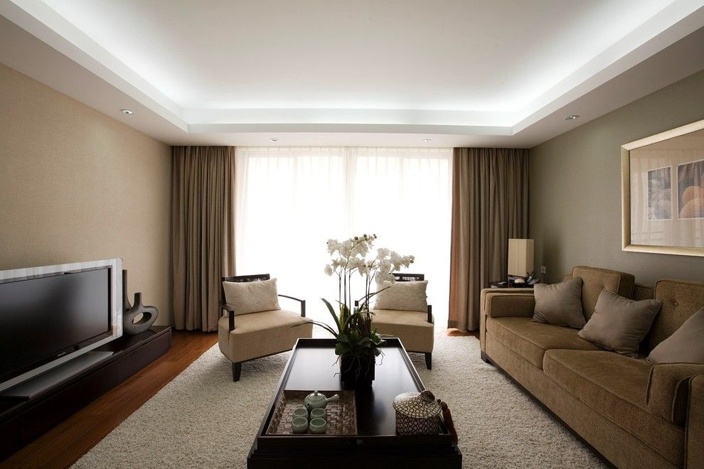 Drop Ceiling Lighting Living Room Contemporary With Drapes Neutral