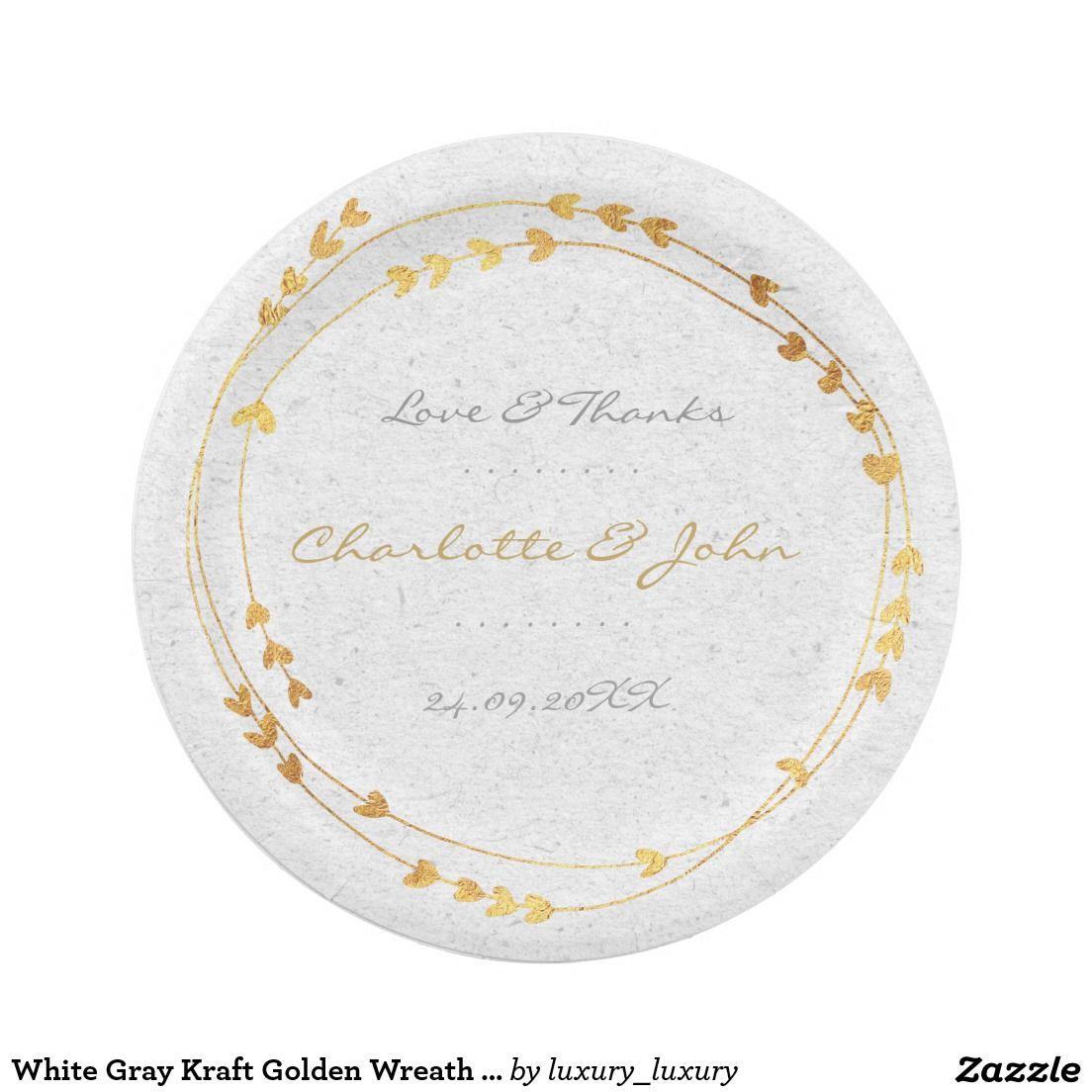 White Gray Kraft Golden Wreath Heart Wedding 7 Inch Paper Plate  sc 1 st  Pinterest & White Gray Kraft Golden Wreath Heart Wedding 7 Inch Paper Plate ...
