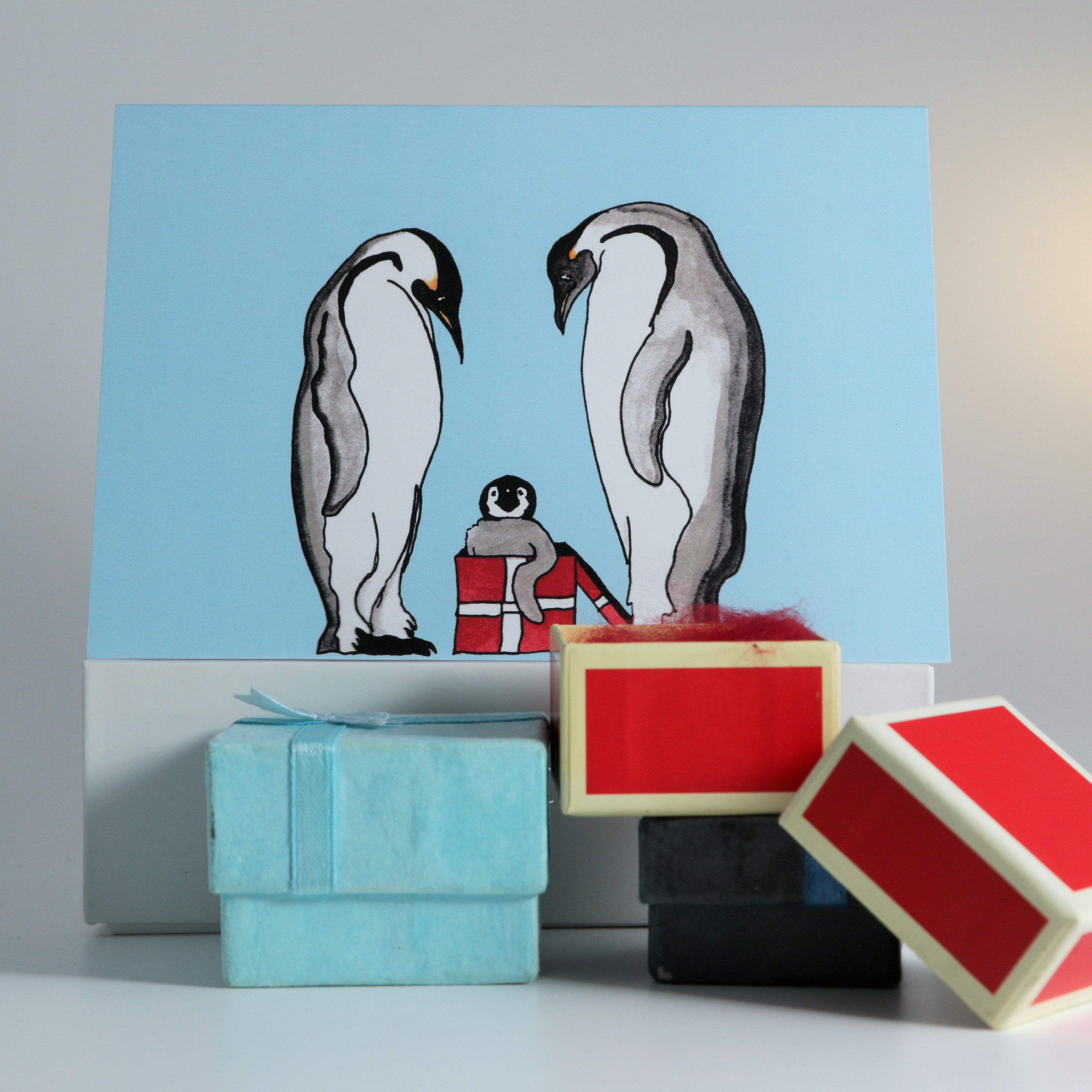 Cute hand-drawn penguin Christmas cards, single cards and packs of 5 ...