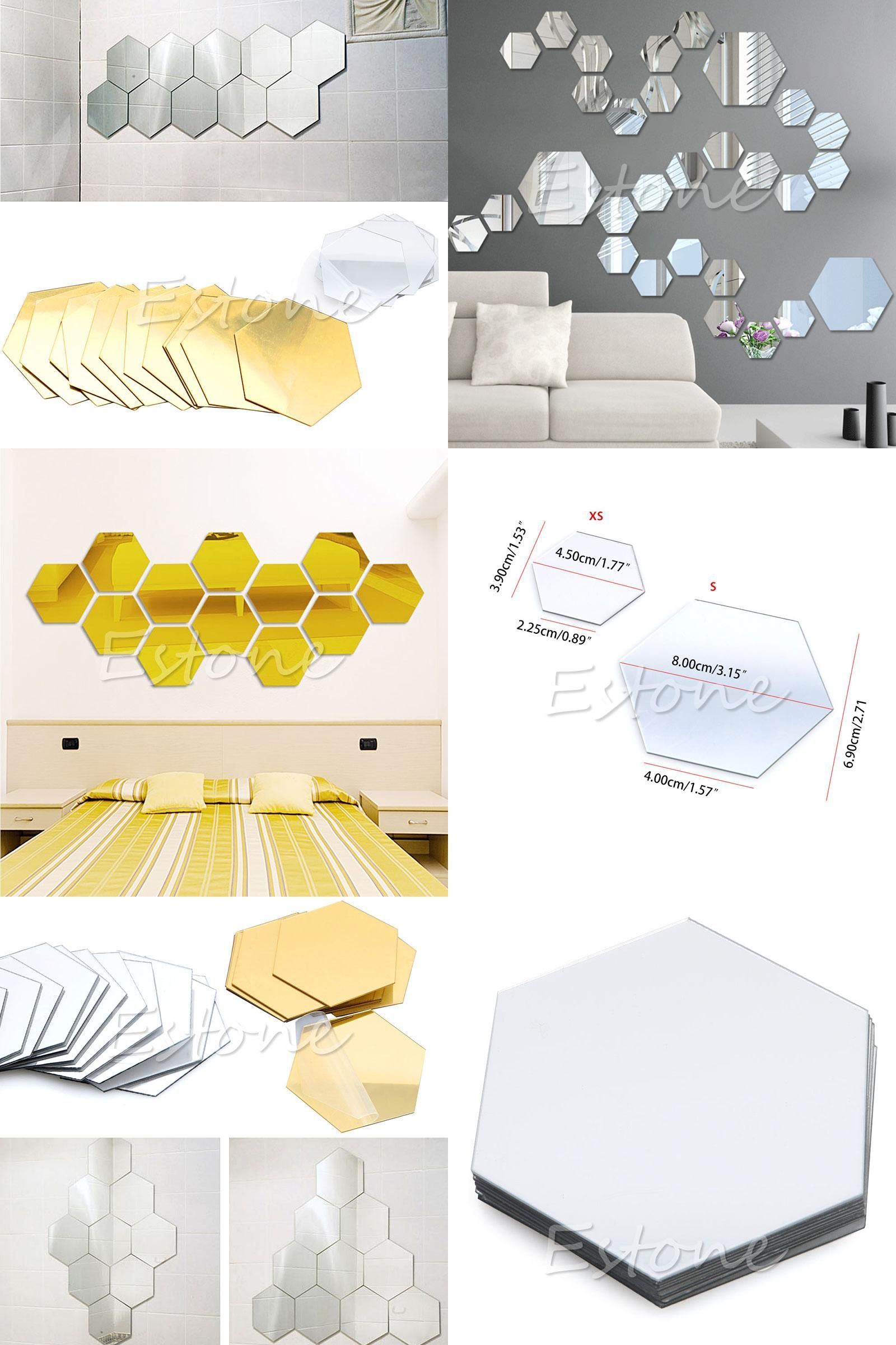 Visit to Buy] New Qualified Wall Stickers 12Pcs 3D Mirror Hexagon ...