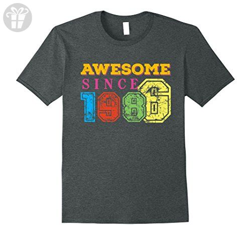 Mens Awesome Since 1986 Best Funny Cute 31st Birthday Gift Shirt 3XL Dark Heather - Birthday shirts (*Amazon Partner-Link)