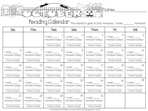 Monthly Reading Minutes Recording Sheet  Homework
