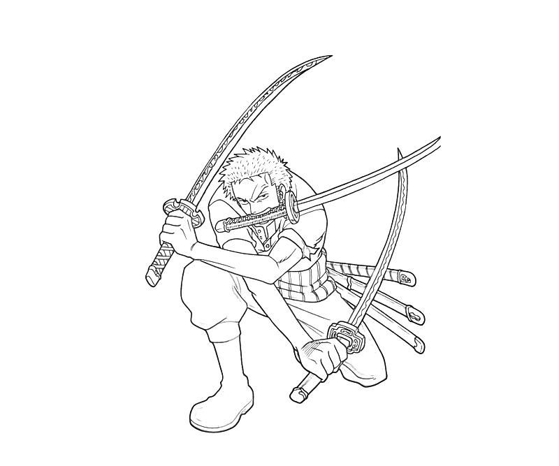 Printable One Piece Roronoa Zoro Skill Coloring Pages