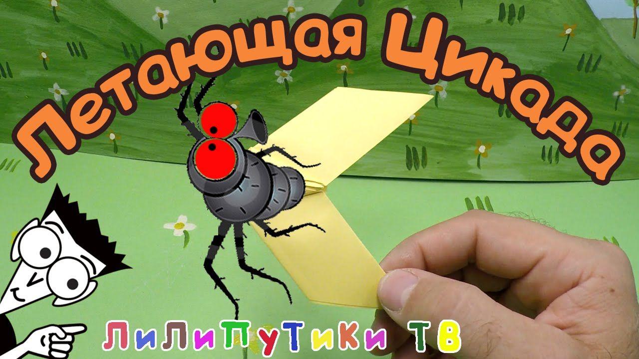 Как сделать летающую цикаду из бумаги оригами | #цикада ❤️ Лилипутики ТВ