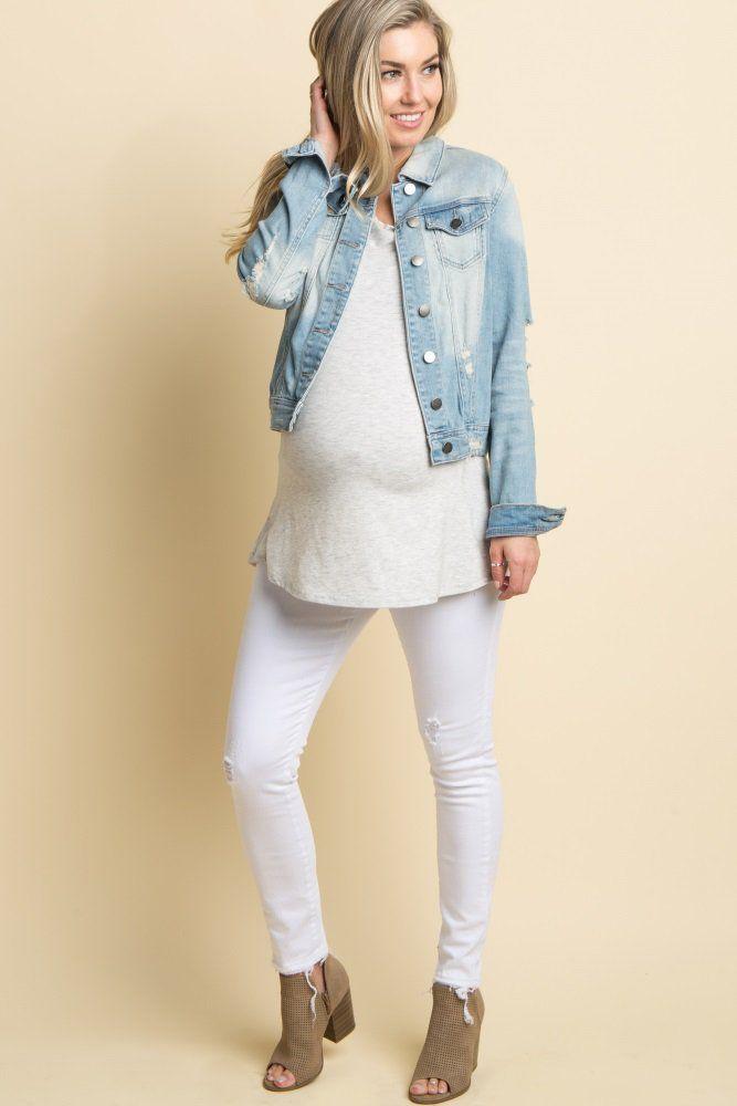565bb6259db Distressed cropped maternity skinny jean. Frayed hem. 5 pockets. Elastic  belly band.
