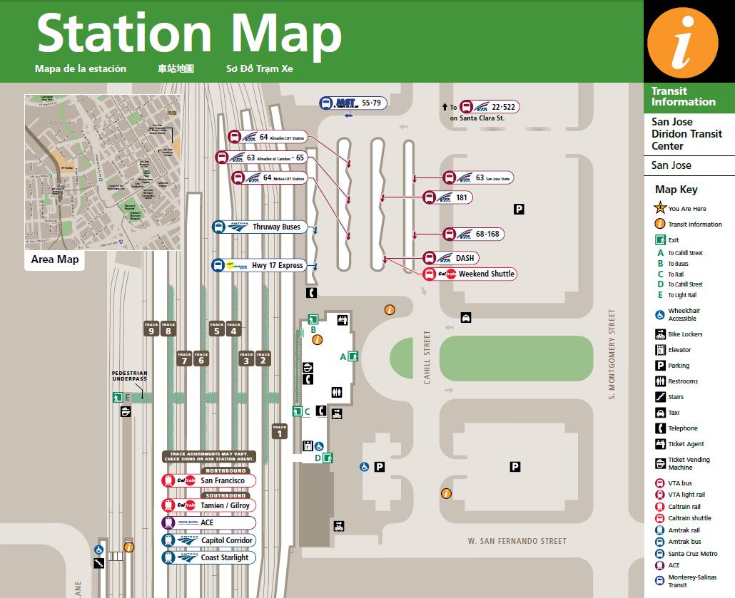 Map of San Jose Diridon Station Caltrain courtesy of MTC Maps