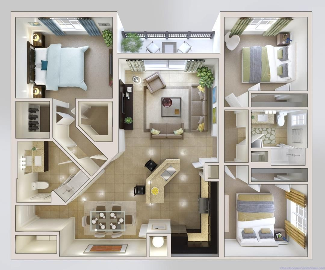 fantastic 2 room flat floor plan.  50 Three 3 Bedroom Apartment House Plans Open floor 3d and Bedrooms
