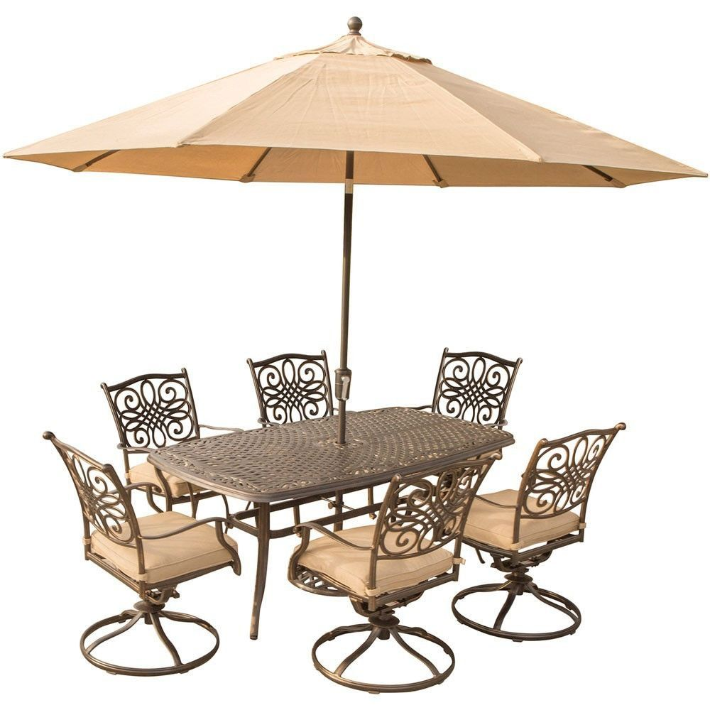 """Hanover Traditions 7PC Dining Set: 6 swivel chrs,38""""x72"""" Cast Tbl, Umb, Stand"""